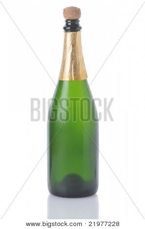 Champagne Bottle No Label isolated on white with reflection