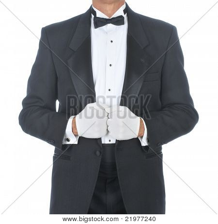 Butler Wearing Tuxedo Holding Lapels with White Gloved Hands isolated background