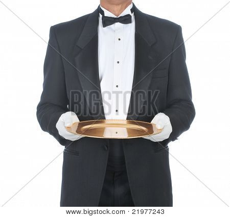 Butler Wearing Tuxedo Holding Tray with White Gloved Hands isolated background