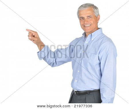 Middle Aged Businessman in Blue Shirt no Tie Smiling and Pointing isolated on white