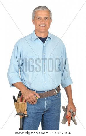 Middle Aged Construction Worker with Arms Folded wearing toolbelt isolated on white