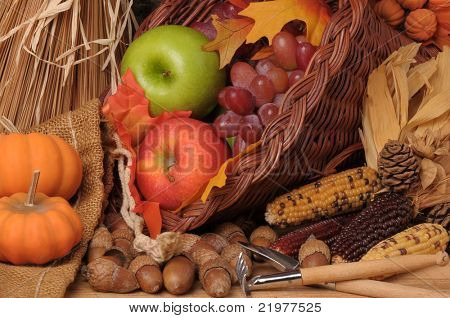 Fall Still Life with Pumpkins, Cornucopia, Fruit and Vegetables, horizontal composition