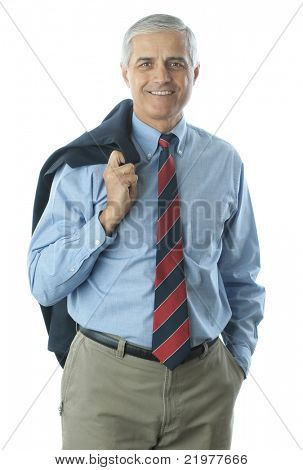 Middle Aged Businessman with jacket over his shoulder isolated on white vertical format torso only