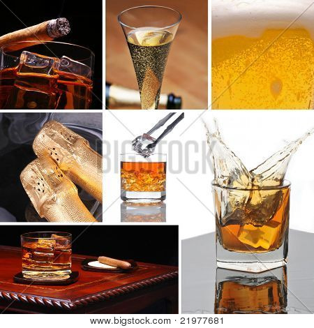 Alcoholic Beverage Collage made from seven photographs