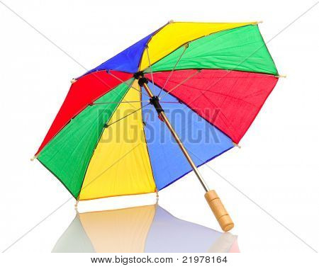 Multi-colored umbrella isolated on white background with reflection. Shows underside of object.