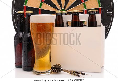 Six pack of beer and frothy glass with a Dart Board and Darts. Horizontal format isolated on white with reflection.