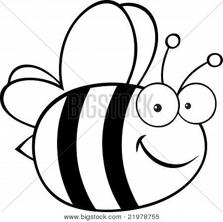 Outlined Cute Cartoon Bee