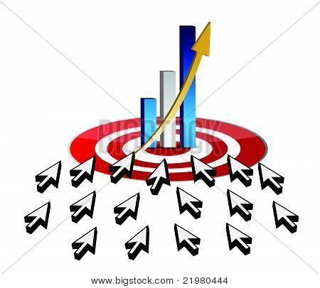 targeting business online success concept