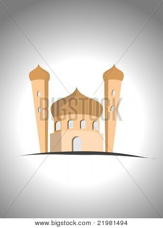 grey background with isolated kiddish mosque