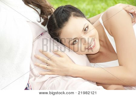 Woman Huging Pregnant Stomach