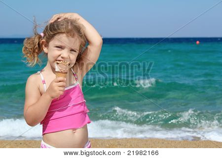 young girl with ice cream