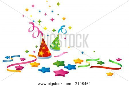 Chrismas Or Birthday Background With Colorful Stars