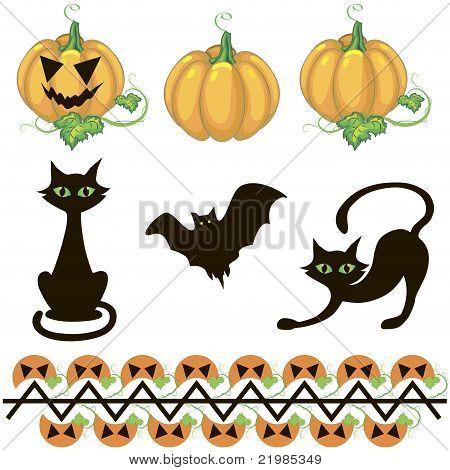 Halloween Decor Elements.