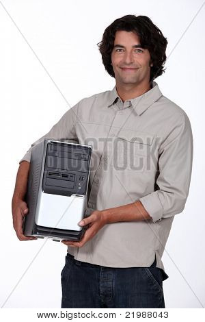 man holding a computer tower