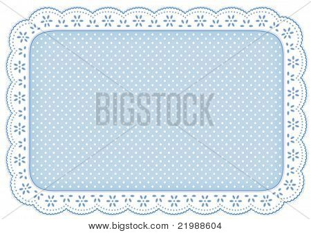 Polka Dot Lace Place Mat, Pastel Blue