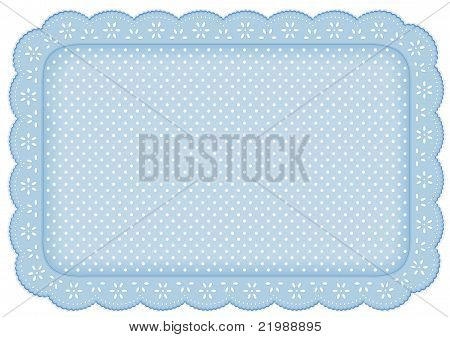 Polka Dot Lace Place Mat, Pastel Blue Background