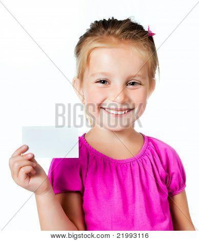 Mädchen mit eine weiße Karte