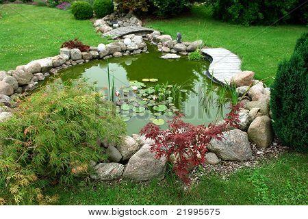 Beautiful Classical Design Garden Fish Pond Gardening Background