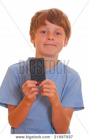 Boy Showing A Smartphone
