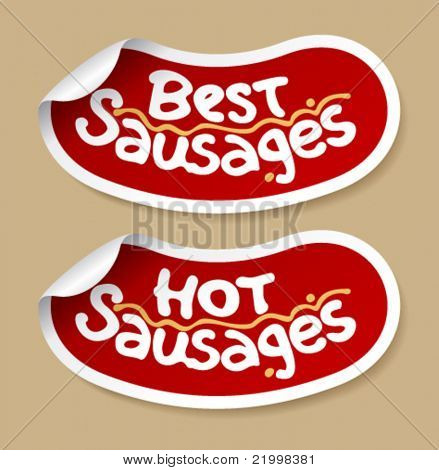 Best sausages stickers set.