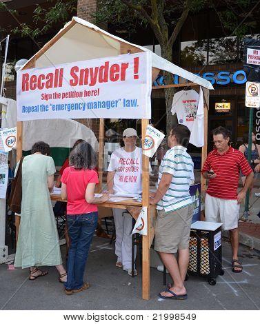 Recall Snyder Booth At Ann Arbor Art Fair