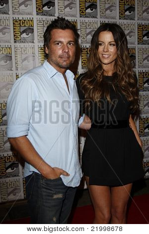 SAN DIEGO - JULY 22: Kate Beckinsale; Len Wiseman arriving at a press event for 'Total Recall' during Comic-Con in San Diego, California on July 22, 2011.