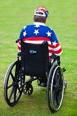 LOS ANGELES, USA - JULY 4 : Disabled American Vietnam veteran in a wheelchair at the Pierce Brothers