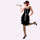 stock photo of fishnet  - flapper kicking up heel - JPG
