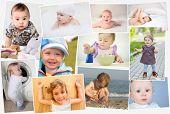 Collage of eleven portraits of children (six childs), children eat, crawl, walk poster