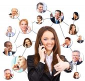 picture of people talking phone  - A group of people talking on the phone - JPG