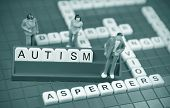 picture of autism  - Autism concept with game board and miniature people - JPG