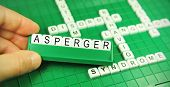 foto of aspergers  - Hand showing the word Asperger  - JPG