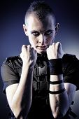 stock photo of skinheads  - Shot of an aggressive  skinhead man - JPG
