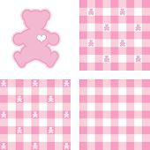 Teddy Bears & Gingham Seamless Patterns, Pastel Pink