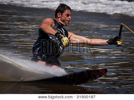 MELBOURNE, AUSTRALIA - MARCH 12: Aaron Larkin of New Zealand in the slalom event at the Moomba Masters on March 12, 2012 in Melbourne, Australia