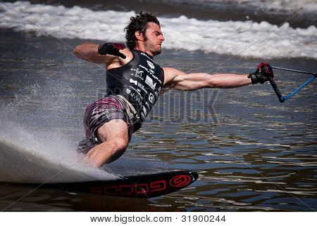 MELBOURNE, AUSTRALIA - MARCH 12: Carlo Allais of Italy in the slalom event at the Moomba Masters on March 12, 2012 in Melbourne, Australia