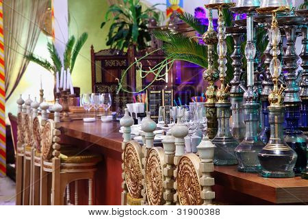 hookahs in eastern luxury restaurant with beautiful multi-colored decorations