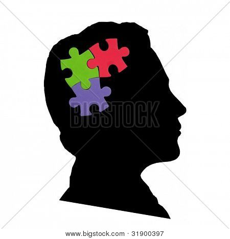 Jigsaw puzzle on the head