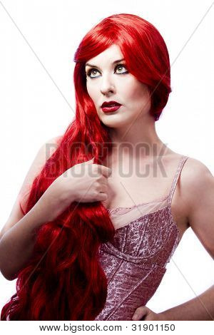 Wavy Red Hair woman. Fashion Girl Portrait. glamorous dress