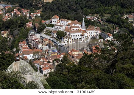 top view from village center, Sintra, Portugal from a castle