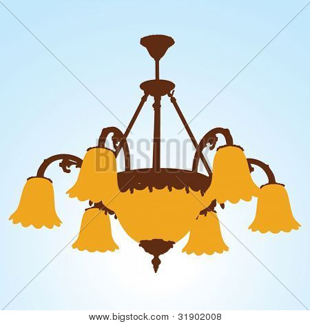 Kronleuchter Silhouetten mit Lampen