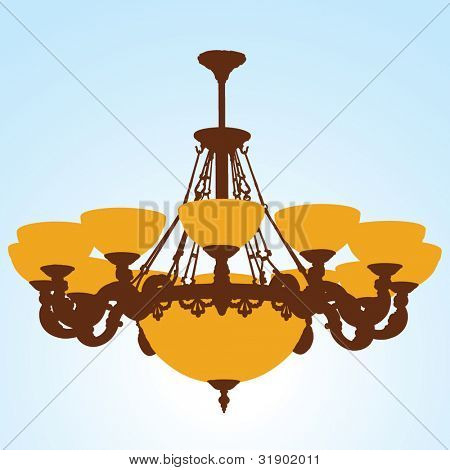 Chandelier Silhouette with lamps