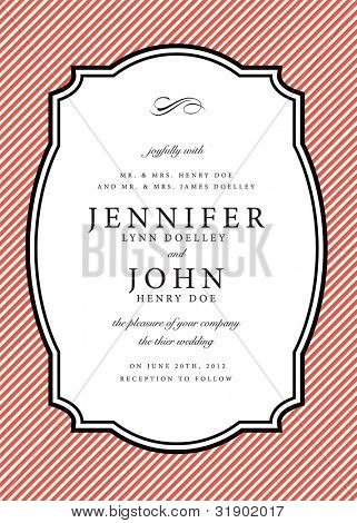 Vector Striped Background and Frame. Easy to edit. Perfect for invitations or announcements.