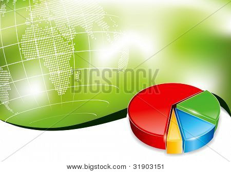 Business background with 3d chart in editable vector format