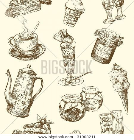 seamless pattern - sweets, coffee
