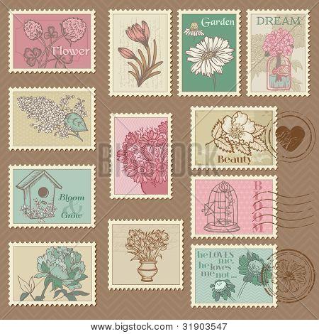 Retro Flower Postage Stamps - for wedding design, invitation, congratulation, scrapbook - in vector