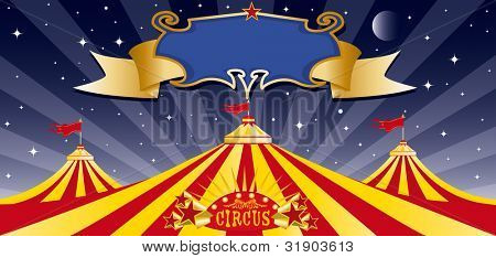 Circus big top in the night. Three big tops in the night with a banner. Write your message