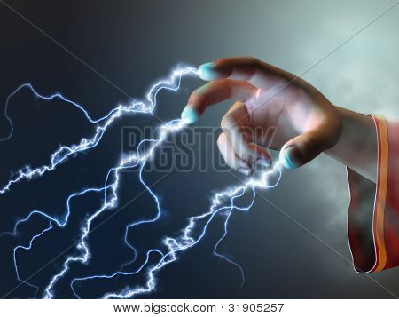 Magician using its fingers to create some energy bolts. Digital illustration.