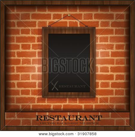 Blackboard Frame Wood Menu Brick Wall