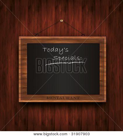 vector blackboard wooden menu Todays special restaurant
